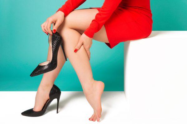 wearing high heels.